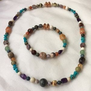 Jewelry - Natural Gemstone Necklace and Bracelet Set